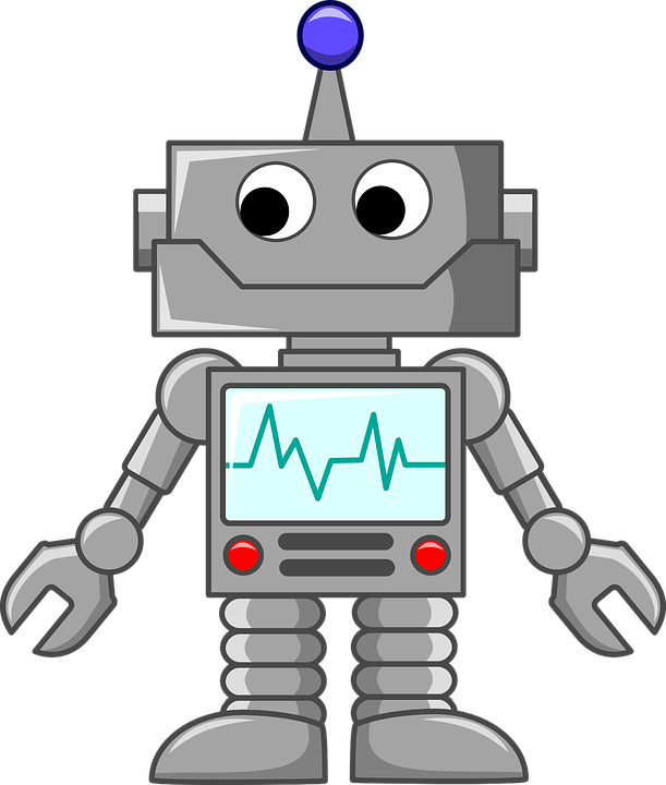 Image depicts an adorable, awkward robot with a crooked smile and square body, looking to the right and down, with a displayed heart monitor and grabber/pincer hands.