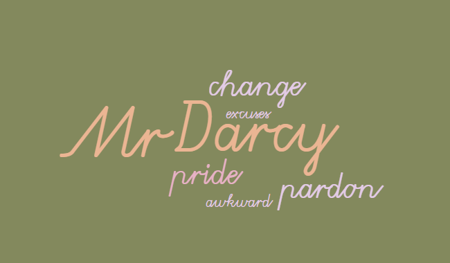 """Image displaying the words, """"Mr. Darcy,"""" """"change,"""" """"pardon,"""" """"pride,"""" """"awkward,"""" and """"excuses"""" all in varying sizes."""